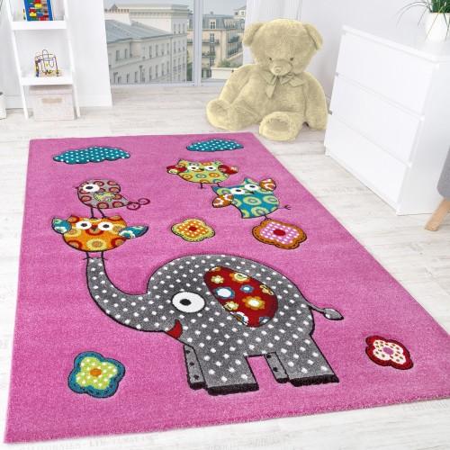 Kinderzimmer Teppich Niedliche Bunte Tierwelt Elefant und Eulen in Pink Fuchsia