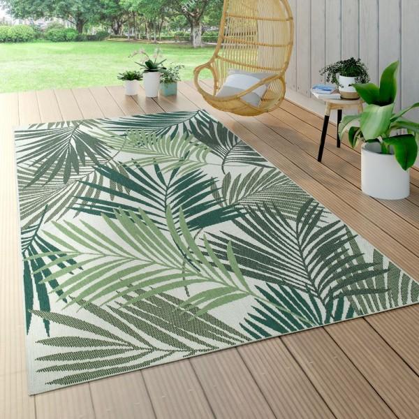 In- & Outdoor Teppich Flachgewebe Jungel Gecarvtes Florales Palmen Design Grün