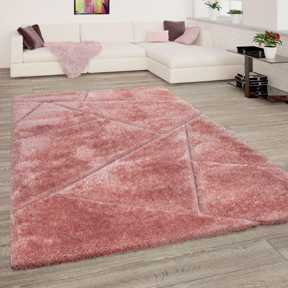Hochflor Teppich Wohnzimmer Shaggy 3-D Design