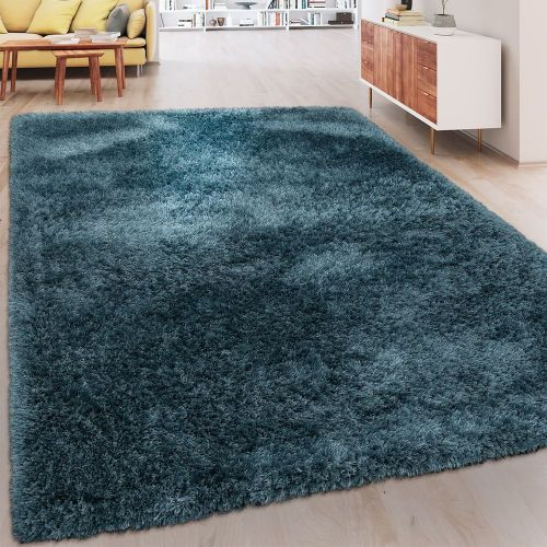 Soft Shaggy Teppich Einfarbig Petrol Blau
