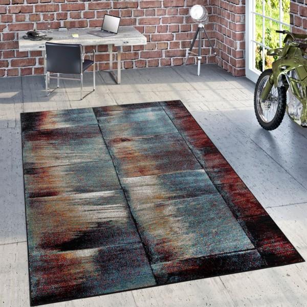 Designer Teppich Modern Wohnzimmer Ölgemälde Abstrakt Rost Optik in Rot Schwarz
