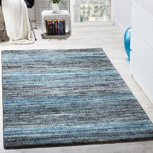 Teppiche Modern Wohnzimmer Teppich Spezial Melierung Türkis Grau Schwarz Creme