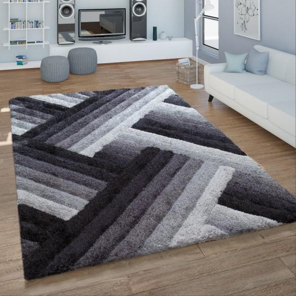 Hochflor Teppich Handgetuftet Wellen Design Weich