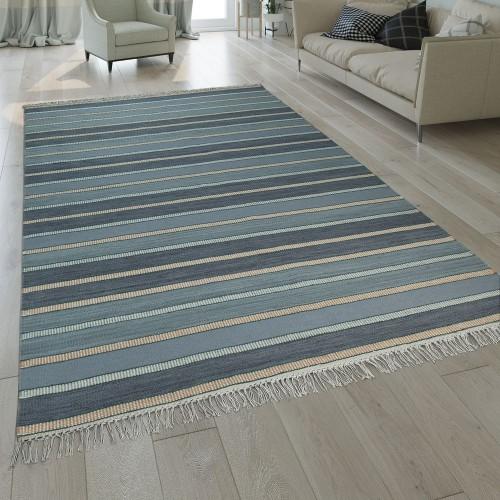 Natur Teppich Wolle Modern Handgewebt Gestreift Kelim Design Fransen Blau Beige