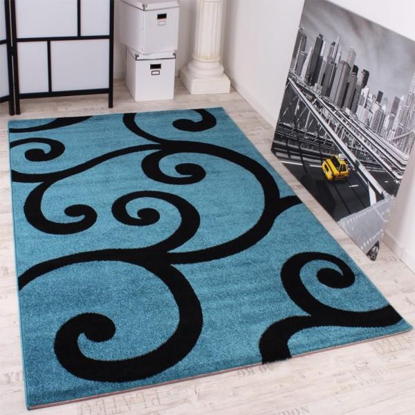 Designer Teppich Modern Wohnzimmer Türkis Schwarz Kurzflor Ausverkauf!!!