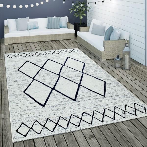 In- & Outdoor Flachgewebe Teppich Geometrisch Skandinavisches Motiv In Weiß Blau
