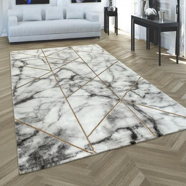 Wohnzimmer Teppich Grau Gold Marmor Design 3-D Muster Kurzflor Robust Weich
