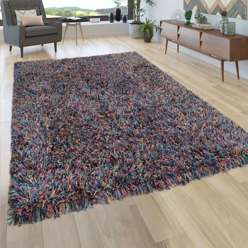 Hochflor Teppich Wohnzimmer Shaggy In Multicolor Bunt, Extra Langer Weicher Flor