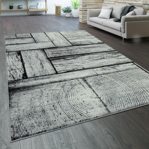 Designer Wohnzimmer Teppich Modern Holz Optik Rustikal Grau Schwarz