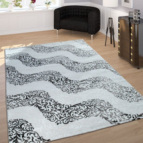 Designer Teppich Edel Konturenschnitt Floral Muster Meliert Grau Creme
