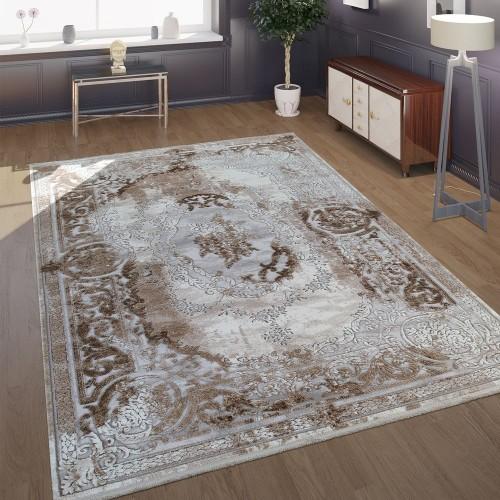 Teppich Wohnzimmer Polyacryl Kurzflor Vintage Barock Klassische Ornamente Beige