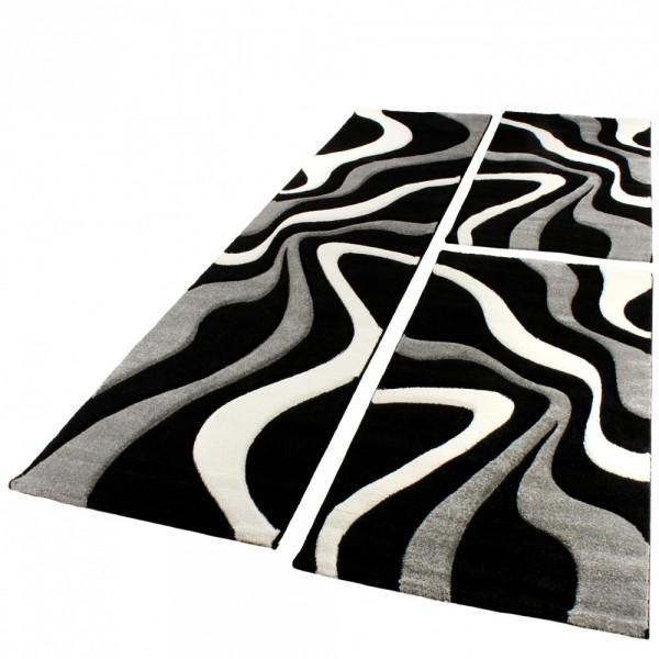 l uferset teppich modern schwarz weiss br cken und. Black Bedroom Furniture Sets. Home Design Ideas