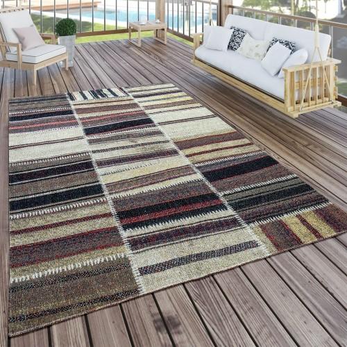 In- & Outdoor Teppich Modern Nomaden Muster Terrassen Teppich Naturtöne