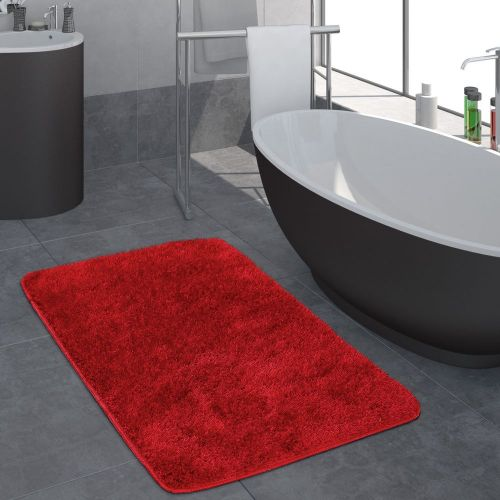 Moderner Hochflor Badezimmer Teppich Einfarbig Badematte Rutschfest In Rot