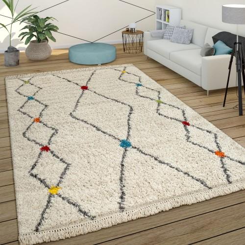 Hochflor Ethno Teppich Beige Shaggy Berber Design Weich Flauschig Rauten Muster