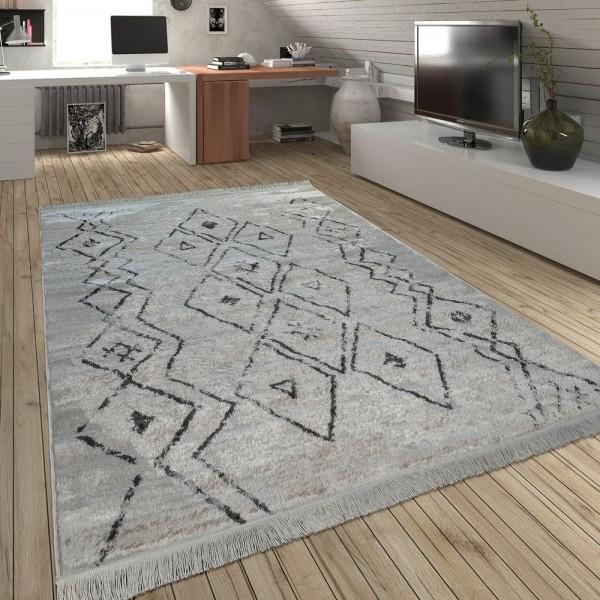 Teppich Fransen Skandinavisch Wohnzimmer Rauten Muster Karo In Creme Grau