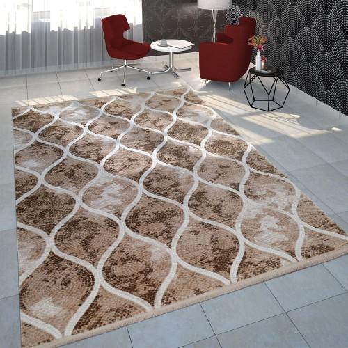 Teppich Wohnzimmer Polyacryl Kurzflor Vintage Orientalisches Mosaik Design In Beige