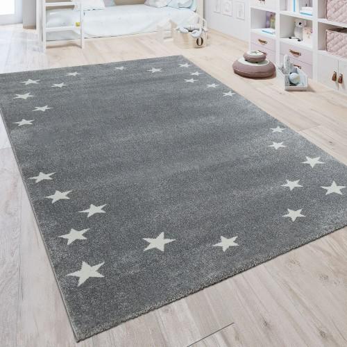 Kinderteppich Pastell Trend Sterne Grau