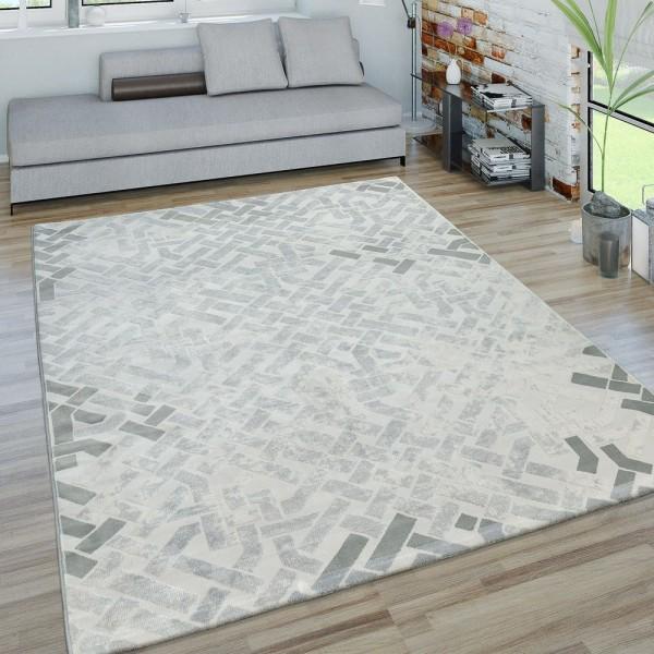 Kurzflor Wohnzimmer Teppich 3D-Optik Labyrinth Design Modern In Grau Weiß