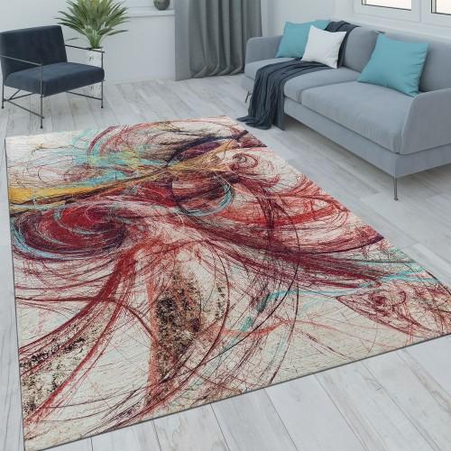 Kurzflor Wohnzimmer Teppich Ausgefallenes Design Abstrakt Rot Mehrfarbig