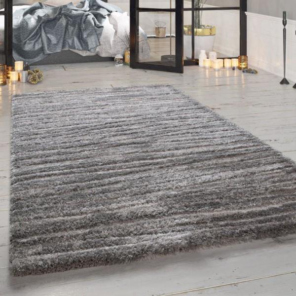 Wohnzimmer-Teppich Shaggy Hochflor Meliert Grau