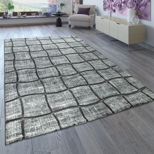 Teppich Wohnzimmer 3-D Karo Muster Kurzflor Anthrazit