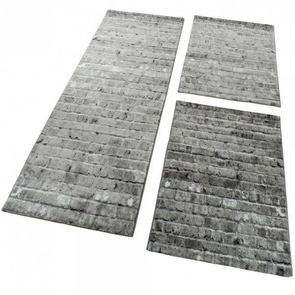 Läufer-Set mit Steinwand-Optik in Grau