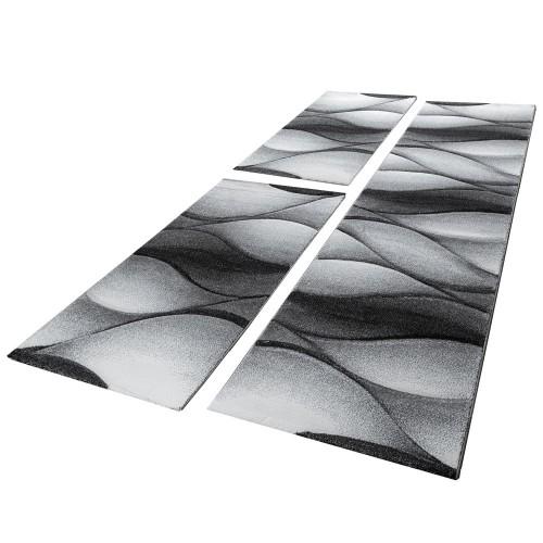 Läuferset Teppich Grau Abstrakt Wellen Optik