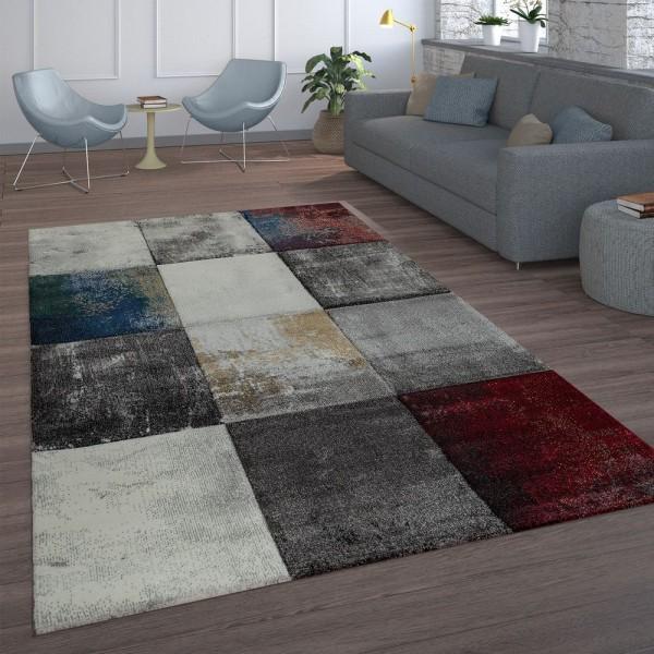 Wohnzimmer Teppich Rot Grau Abstrakt Karo Muster Modern Gemälde Kurzflor Weich