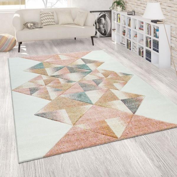 Teppich Wohnzimmer Modern Weiß Rosa Bunt Pastell Kurzflor 3-D Rauten Muster
