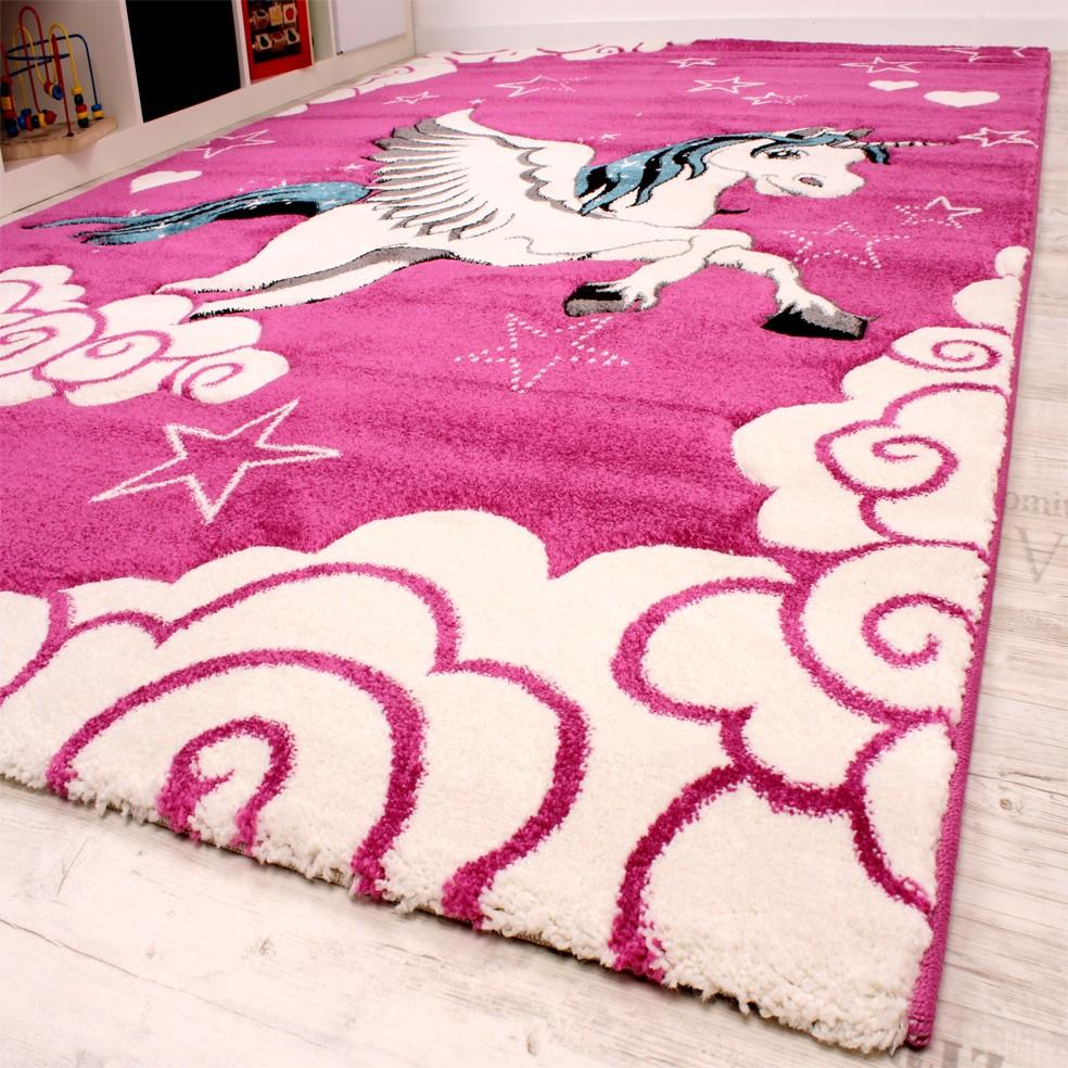 Kinderzimmer Teppich für Kinder Das Kleine Einhorn Fuchsia