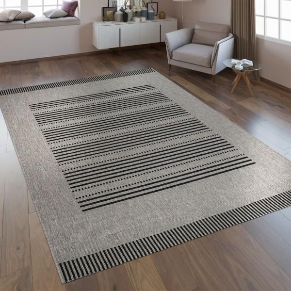 Flachgewebe Teppich Sisal Optik Streifen Silber Grau