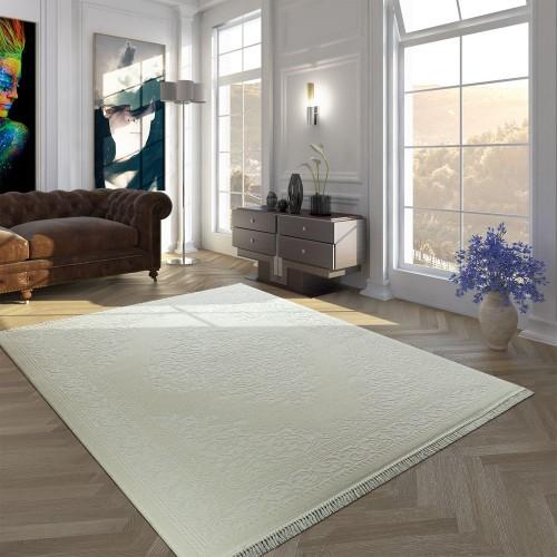 Vintage Polyacryl Teppich Bordüre Muster Hochwertig Klassisch Fransen Creme Weiß
