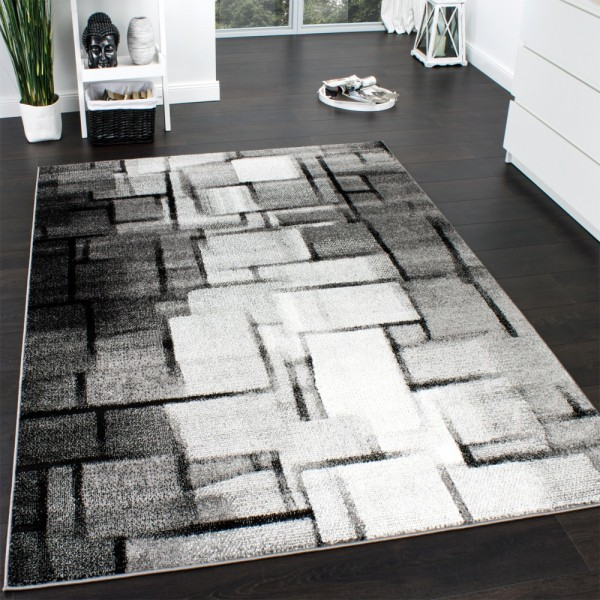 Designer Teppich Modern Trendiger Kurzflor Teppich Karo Muster Farbverlauf Grau