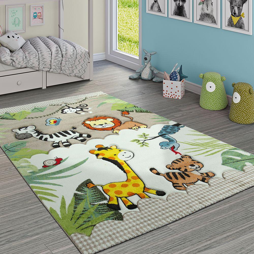 Kinderteppich Kinderzimmer Tiere Löwe Affe Zebra