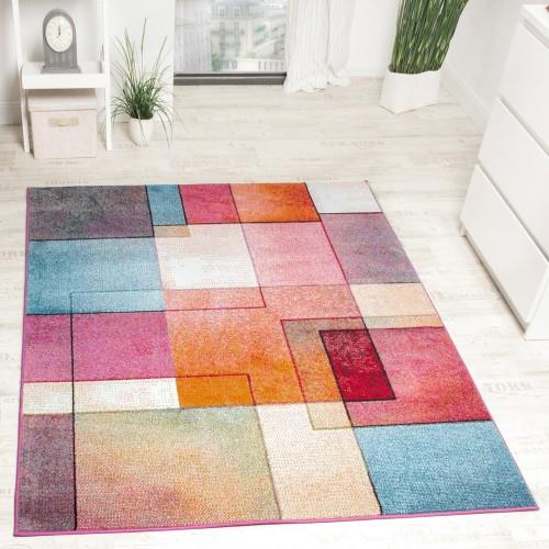 Designer Teppich Modern Bunt Karo Muster Multicolour Türkis Grün Fuchsia Meliert