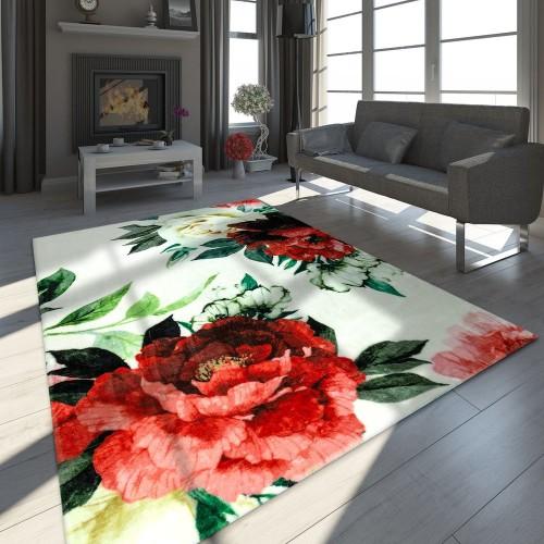 Designer Teppich Blumen Muster Weiß