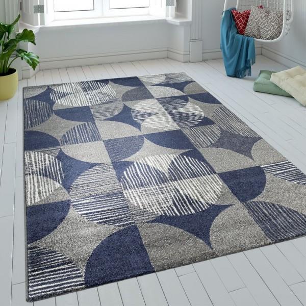 Teppich Wohnzimmer Kurzflor Kreise Karo Design Batik In Blau Grau Retro Optik
