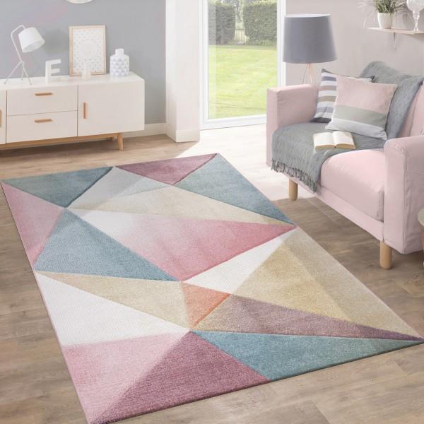 Teppich Kurzflor Modern Pastell Design