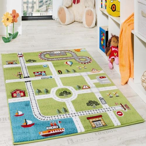Kinderteppich Spielteppich City Hafen Straßenteppich Stadt Straße Grau Grün