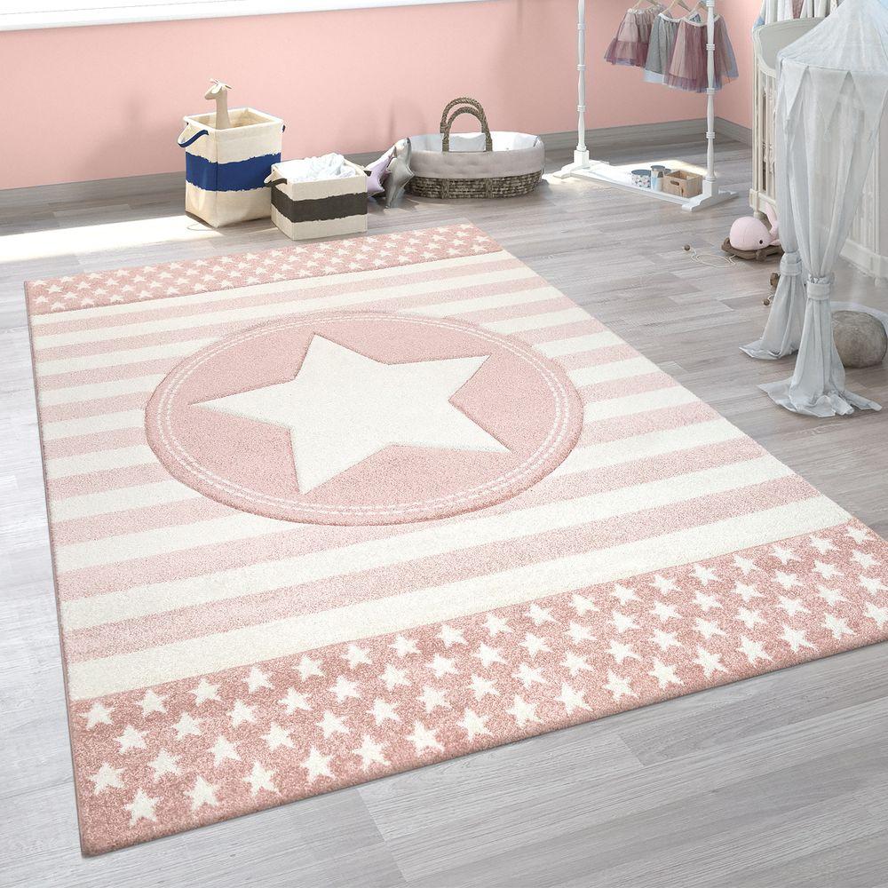 Kinderzimmer Kinderteppich Streifen Stern Design