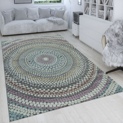 Retro Teppich Wohnzimmer Kreis Punkte 3-D Muster