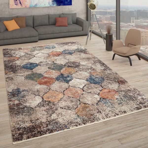 Orient Teppich Beige Bunt Used Design Marokkanisches Muster Robust Kurzflor