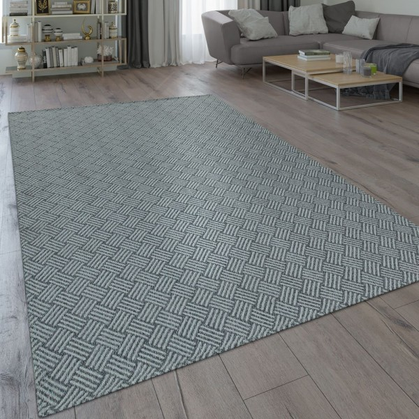 Teppich Grau Wohnzimmer Küche Web Design Flecht Muster Robust Flachgewebe