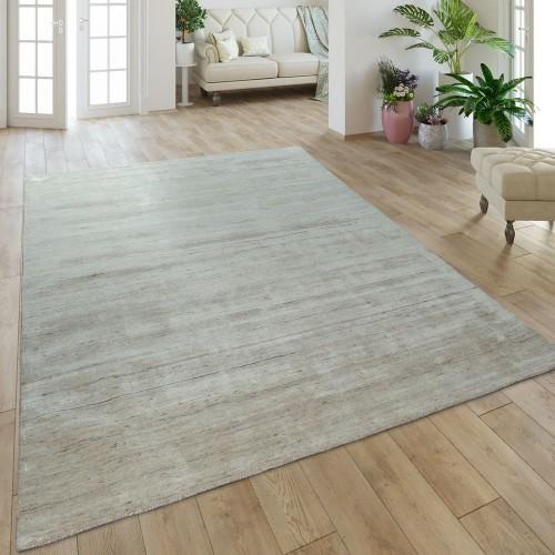 Teppich Handgefertigt Baumwolle Viskose Meliert