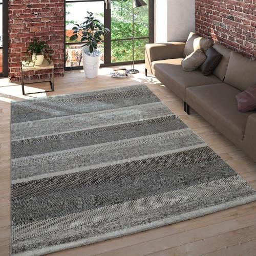 Wohnzimmer Teppich Kurzflor Meliert Mehrfarbiges Design Gestreift in Grau Beige