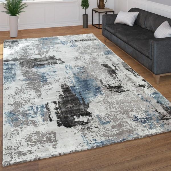 Moderner Kurzflor Wohnzimmer Teppich 3D Optik Abstraktes Muster In Grau Blau