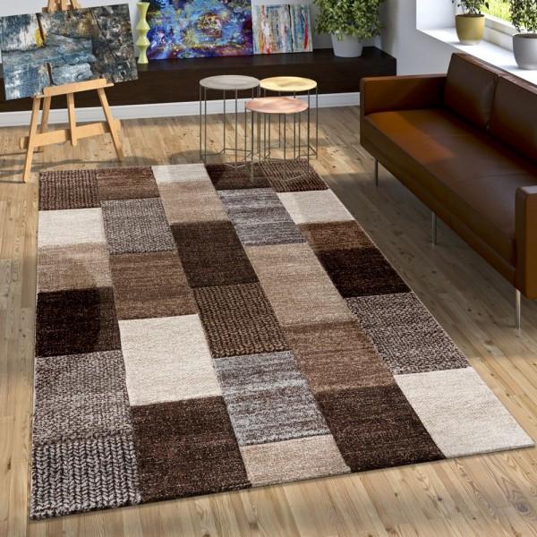 Designer Teppich mit Konturenschnitt Karo Muster In Braun Beige Grau Creme