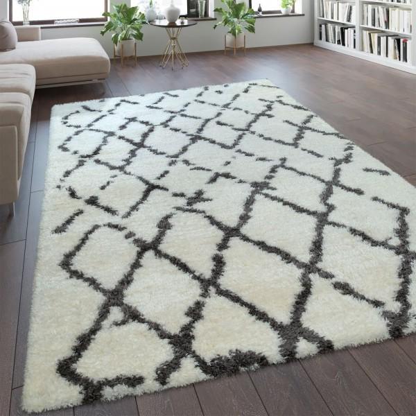 Hochflor Teppich Kuschelig Modern Shaggy Flokati Stil Rauten Muster Weiß Grau