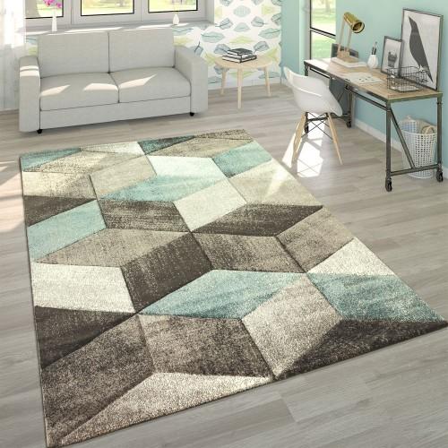 Designer Teppich Modern Konturenschnitt Pastellfarben Geometrische Formen In Türkis
